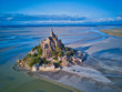 Leinwanddruck Bild - Top view of the Mont Saint Michel Bay, Normandy France