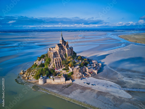 Leinwanddruck Bild Top view of the Mont Saint Michel Bay, Normandy France