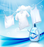 Laundry detergent ad. White clothes hanging on rope and plastic bottle. Design template. Vector - 226116178