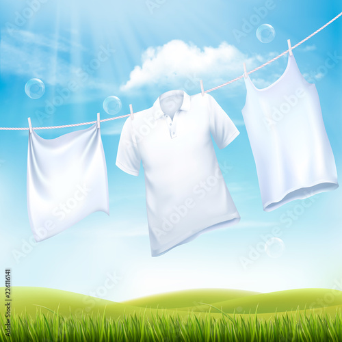 Washing white clothes hanging on the rope. Design template. Vector