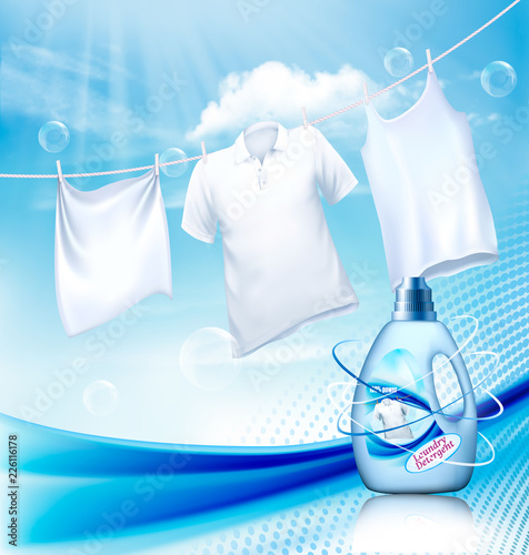 Laundry detergent ad. White clothes hanging on rope and plastic bottle. Design template. Vector