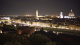 In focus cityscape of Florence, Italy at night with bright city lights - 226123158