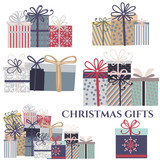 Christmas set of vector gifts created in rustic style - 226124389