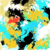 Abstract painting with bold bright colors and brushstrokes, in square format, white background, one of a kind artwork