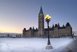 Canadian Parliament Building in Winter Viewed from the Front