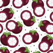 Seamless Pattern Fresh Mangosteen Fruit Wallpaper Background
