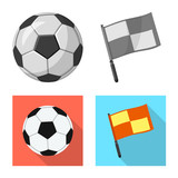 Isolated object of soccer and gear logo. Set of soccer and tournament stock vector illustration.