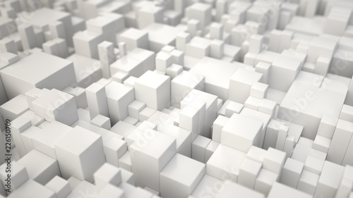 Pattern from white cubes of different sizes - 226150709