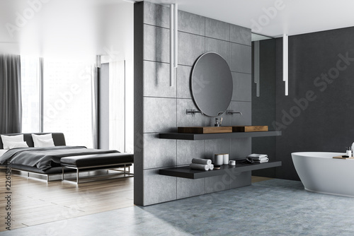 Leinwandbild Motiv Master bedroom and bathroom interior