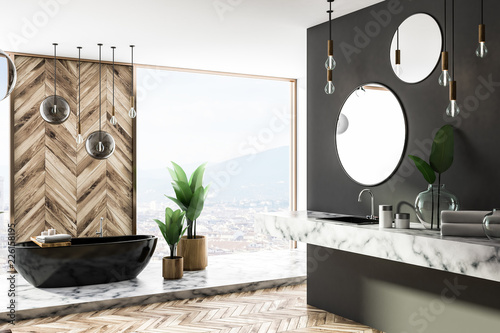 Leinwandbild Motiv Luxury gray and wood bathroom corner