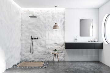 White tile and crude wall bathroom shower and sink