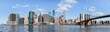 skyline of lower Manhattan and Brooklyn bridge