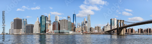 skyline of lower Manhattan and Brooklyn bridge - 226159193