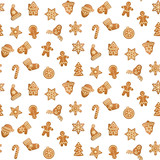 Christmas and New Year Seamless Pattern with Gingers