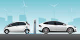 Two white electric cars with charging station. Vector illustration EPS 10