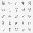 Animals line icon set with horse, deer and cobra