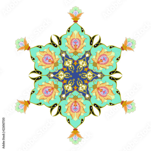 Arabic arabesque texture design greeting card for Ramadan Kareem. Islamic ornamental colorful detail of mosaic  illustration geometric - 226167130