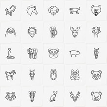 Animals Line Icon Set  Bear Hedgehog And Pig Sticker