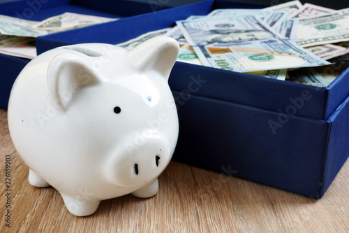 Fridge magnet Piggy bank and box with money. Retirement savings concept.