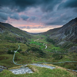 Beautiful dramatic landscape image of Nant Francon valley in Snowdonia during sunset in Autumn - 226170110