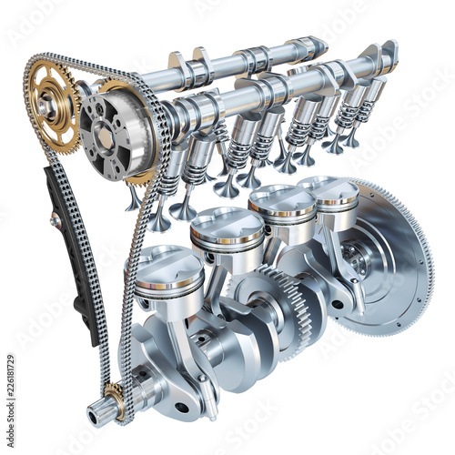 Leinwanddruck Bild System of Internal combustion engine isolated on white background. 3d