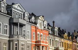 A beautiful scenery on the streets of Bergen, Norway. Overcast day. - 226189134