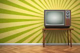 Retro old TV set on the vintage background. - 226198580