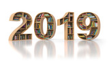 2019 new year education concept. Bookshelvs with books in the form of text 2019. - 226198942
