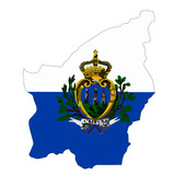 Map country with flag of San marino