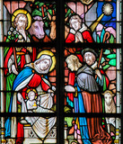 Stained Glass - Nativity Scene at Christmas