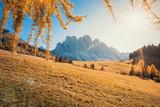 Malga Glatsch, Funes Valley, Dolomites Alps in Autumn, Alto Adige, Italy