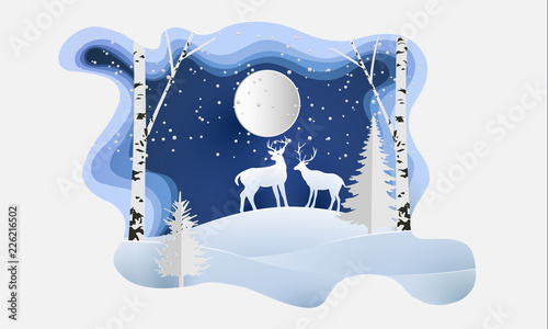 vector illustration of the snow forest and the deer. beautiful winter with paper art style © Framework Wonderland