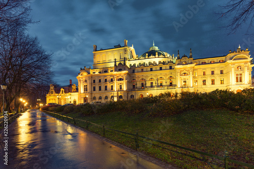obraz PCV Night view of the Krakow historical architecture. Poland.