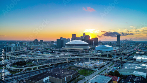 Poster Aerial View of New Orleans, Louisiana, USA Skyline at Sunrise
