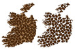 Ireland -  map of coffee bean, Republic of Ireland map made of coffee beans, - 226229952