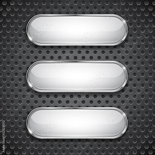 Oval glass buttons on metal perforated background