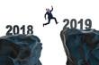 Leinwanddruck Bild - Concept of transition between 2018 and 2019