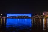 Linz Stadt mit Lentos und Donau am Abend