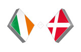 Europe football competition Ireland vs Denmark. Vector illustration.