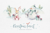 Watercolor Merry Christmas illustration with snowman, holiday cute animals deer, rabbit. Christmas celebration cards. Winter new year design. - 226248769