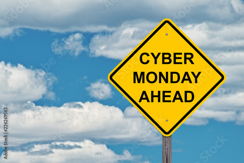 Cyber Monday Ahead Caution Sign