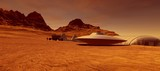 Extremely detailed and realistic high resolution 3d illustration of an Alien Ufo Flying Saucer Space Ship on Mars like Planet with Colony in Background - 226272911