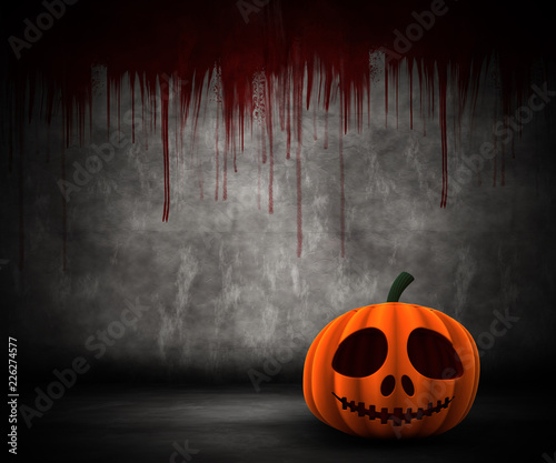 3D pumpkin in grunge blood splattered interior