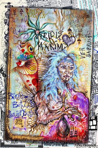 Shaman. Esoteric graffiti and manuscripts with alchemical draws