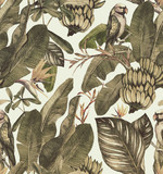 Seamless watercolor pattern with hibiscus, palm leaves, branch of strelitzia, calathea.Tropic  vintage background