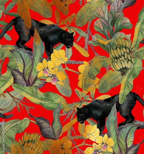 Tropical Leaves Bananas Panther And Orchid Seamless Vintage