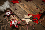 Christmas decor. Frame of handmade New Year's toy - 226279905