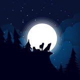 Black wolf family Silhouette the background of the full moon.