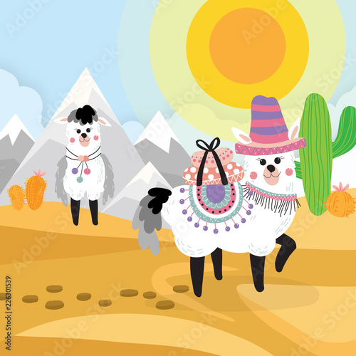 Desert Seamless Background Elements Cartoon Illustration With