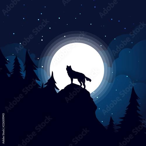 Fototapeta Black wolf Silhouette the background of the full moon.